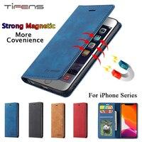 Funda de cuero de lujo para móvil, funda magnética con tapa para tarjetas, para iPhone 12, Mini, 11 Pro, XS, Max, XR, X, 5, 5s, SE, 2020, 7, 8, 6, 6s Plus