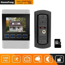 "HomeFong 4"" Video Door Intercom System Video Door Bell HD IR Night Vision Deurbel Met Camera With 32G card For Home Security Kit"