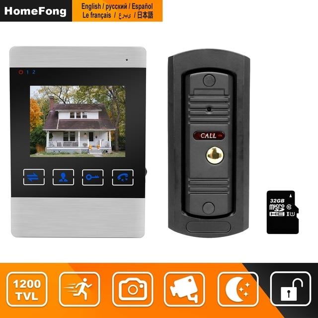 "HomeFong 4 ""جهاز اتصال داخلي مزود بفيديو للأبواب نظام فيديو باب الجرس HD الأشعة تحت الحمراء للرؤية الليلية Deurbel مع بطاقة 32G لأمن الوطن عدة"
