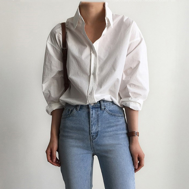 Vintage Single-breasted Solid Women Blouse 3