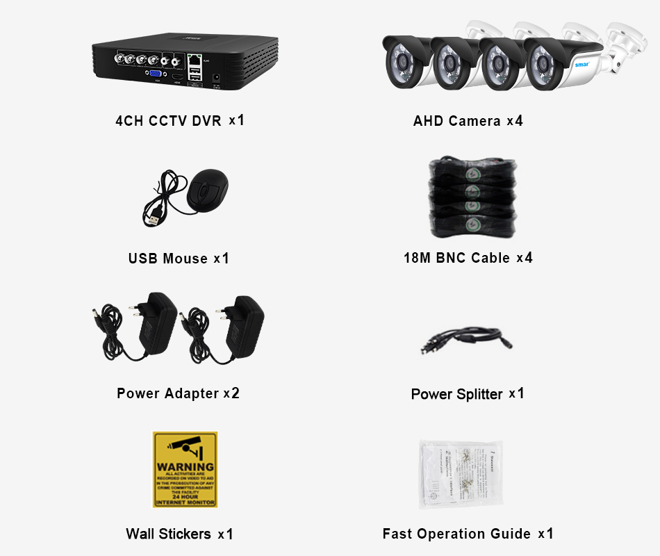 Smar 4CH 1080N 5 in 1 AHD DVR Kit CCTV System 4&2PCS 720P1080P IR AHD Camera Outdoor Waterproof Security Surveillance Set XMeye (2)
