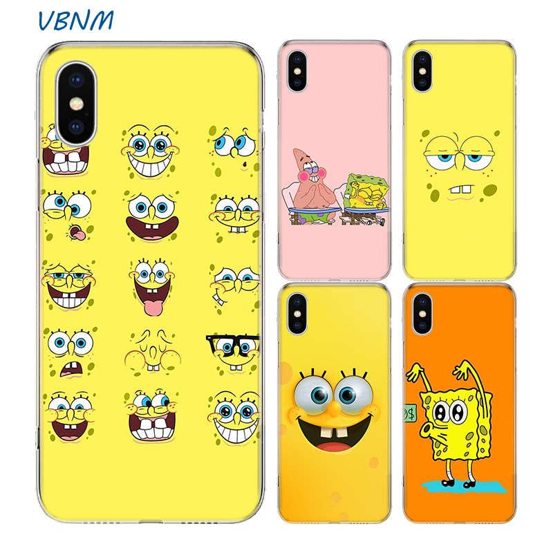 Cute Cartoon Spongebob Fundas Silicone Phone Back Case For Apple iPhone 7 8 6 6S Plus XS MAX X XR 10 TEN SE 5S 5 Shell Cover