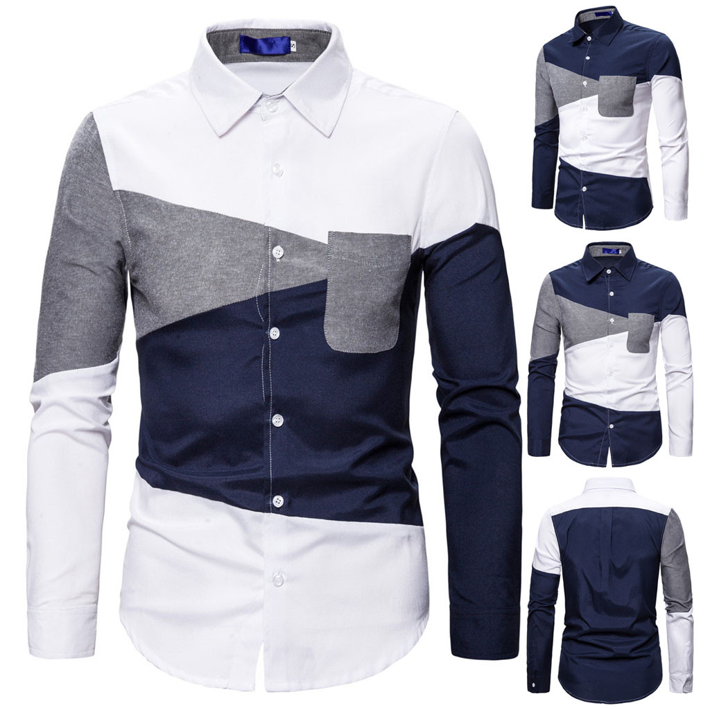 Men's Fashionable Personality Color Patchwork Long Sleeve Shirt Autumn Winter Dropshipping Size Leisure Work Clothes Leisure Wor