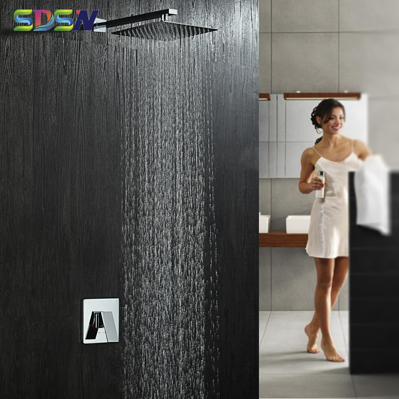 Concealed Shower Set SDSN 8 Inch Bathroom Shower Head Chrome Bathtub Mixer Faucetss Inwall Mounted Concealed Shower System