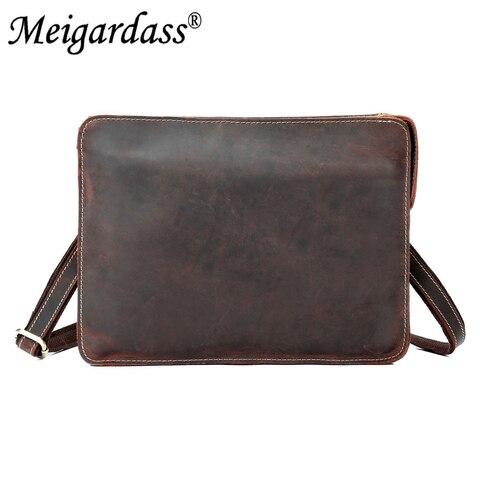 Vintage Crazy Horse Genuine Leather Business Briefcase Men Office Handbags iPad Laptop Messenger Bags For Male Purse  Bag Lahore
