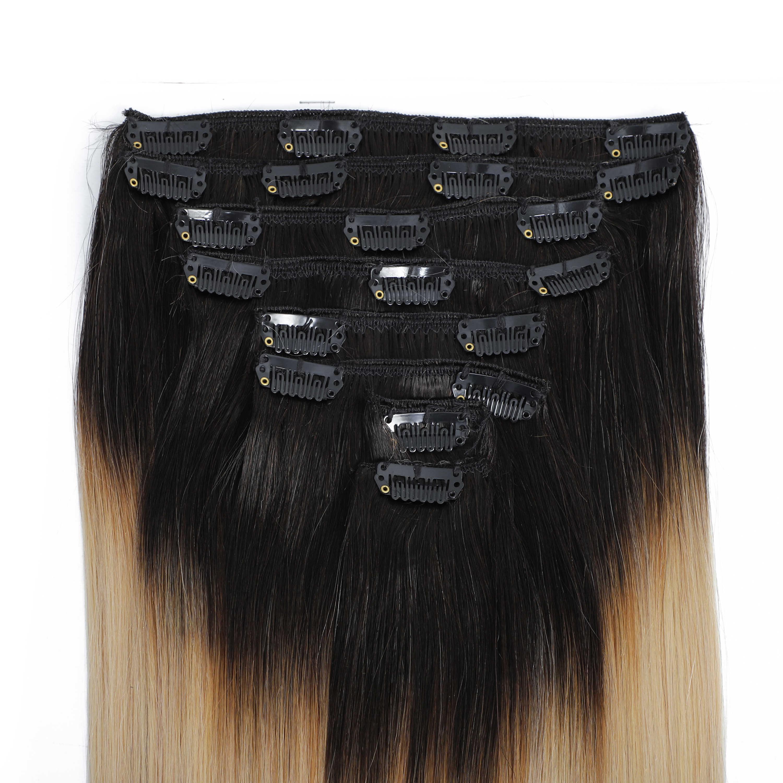 גברת שיער Ombre בלונדינית צבע קליפ שיער טבעי הרחבות מלא ראש רמי 100% שיער טבעי 8 יח'\סט קליפ סיכות ישר