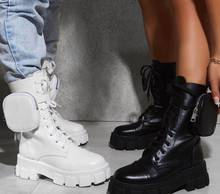 Women Thick Bottom Increased Platform Punk Boots With Wallet Bags Military Motorcycle Boot Botas Altas Mujer Ladies Female Shoes