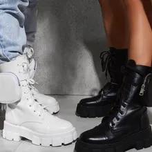 Mulheres de fundo grosso aumentou plataforma punk botas com carteira sacos militar motocicleta bota botas altas mujer senhoras sapatos femininos
