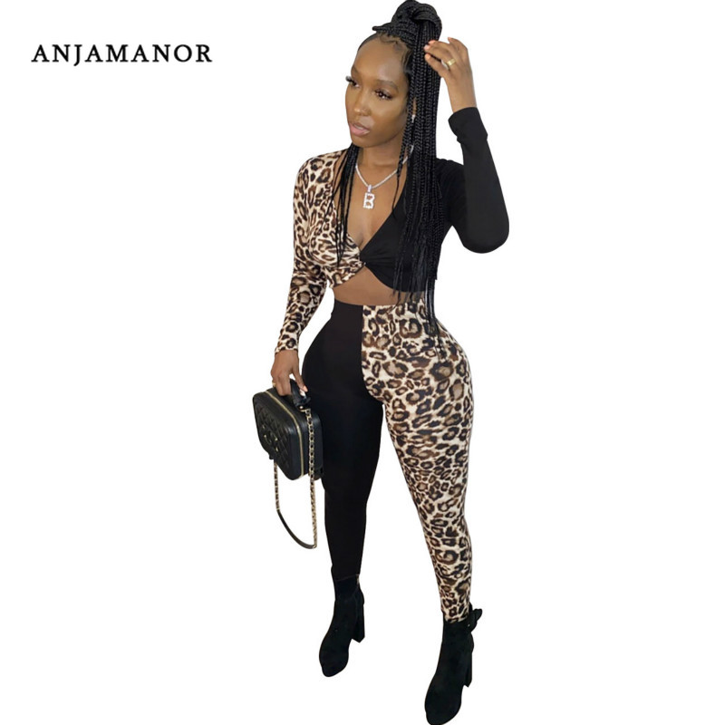 ANJAMANOR Cheetah Sexy 2 Two Piece Outfits For Women Club Wear Fall Winter Plus Size Bandage Top And Pants Leggings D52-AC91