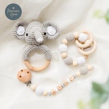 цена 1set Crochet Amigurumi Elephant Owl Rattle Bell Baby Toys Custom Newborn Pacifier Clip Montessori Toy Educational Children Goods онлайн в 2017 году