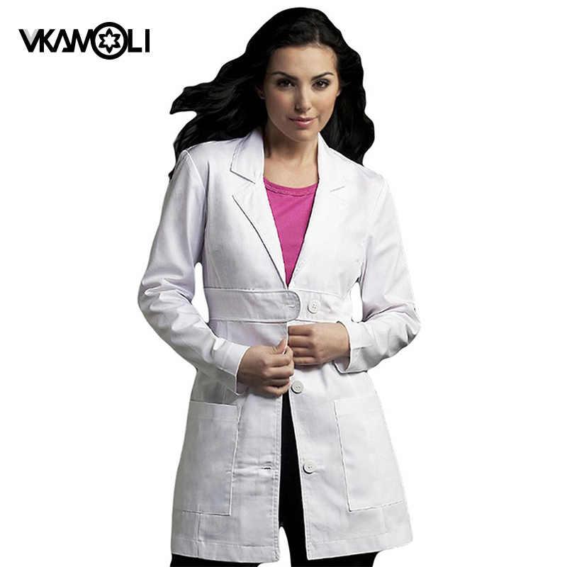 Vkamoli נשים של בגדי אחות אחיד רפואי שירות מעיל לבן רפואי בגדי להגן חלוקי מעבדה ארוכת שרוול slim קדמי חגורת