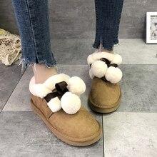 Женские зимние теплые ботинки; модная Милая обувь на меху; короткие плюшевые ботильоны на платформе с помпонами; botas mujer invierno;