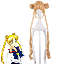 Anime Sailor Moon Cosplay Wigs  Party Costume Wig Super Long Blonde Synthetic Hair Halloween Cosplay Wig+wig Cap цена 2017