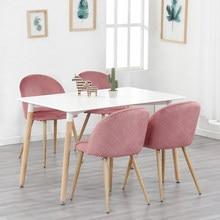 Juego de 4 sillas de comedor con pies suaves de terciopelo y Metal, traje para cocina, comedor, sala de estar, Salón (Pinkl/Verde/azul)