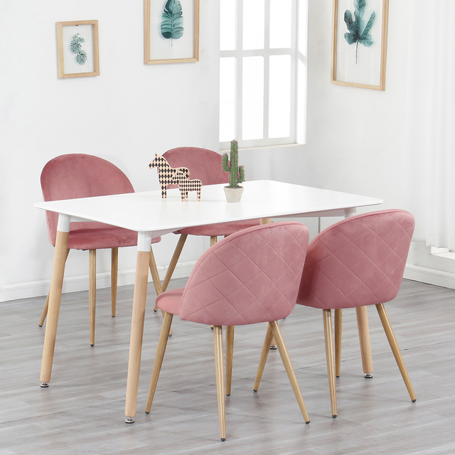 A Set Of 4 Dining Chairs With Soft Velvet And Metal Feet, Suit for Kitchen, Dining Room, Living Room, Lounge (Pinkl/Green/Blue))
