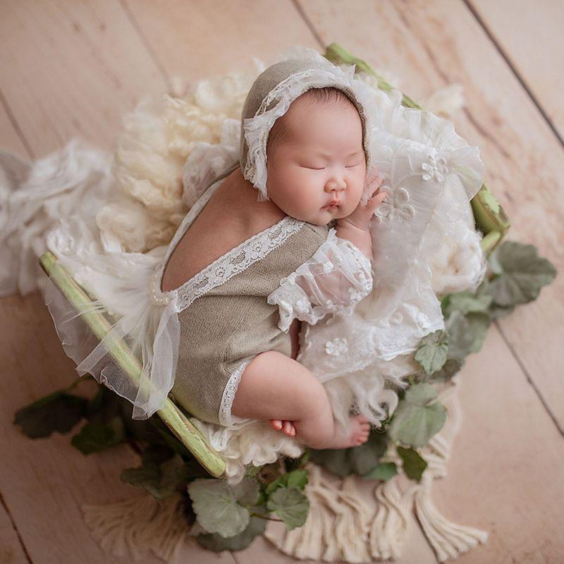 2Pcs Newborn Photography Props Suit Lace Romper + Hat Set Knit Outfits Clothing