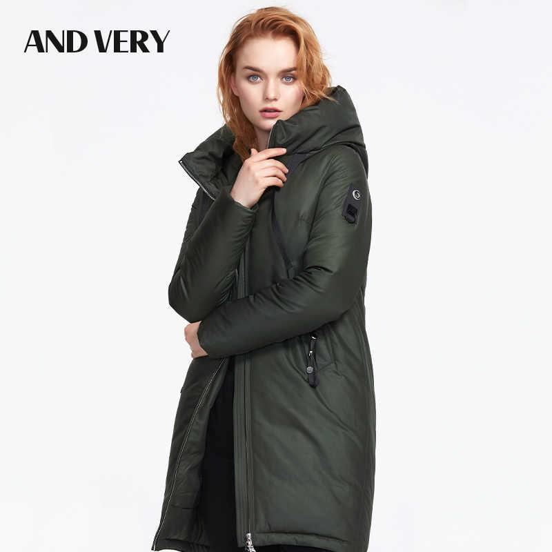 ANDVERY 2019 осень новое поступление женский пуховик с капюшоном темно-зеленый цвет плотное хлопковое длинное женское пальто для осени и зимы 9832