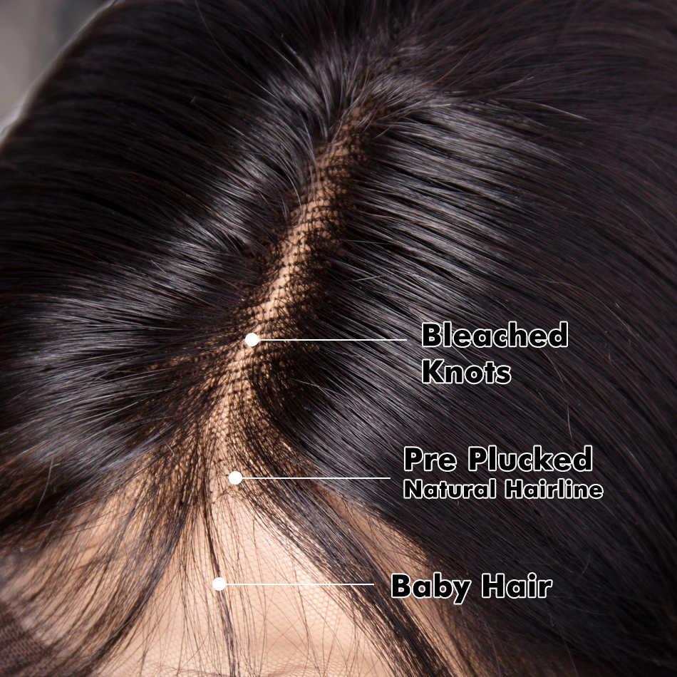 Peluca Bob corto recta brasileña pelucas de cabello humano con encaje frontal sin pegamento para mujeres negras Pre desplumadas con pelo Remy para bebés