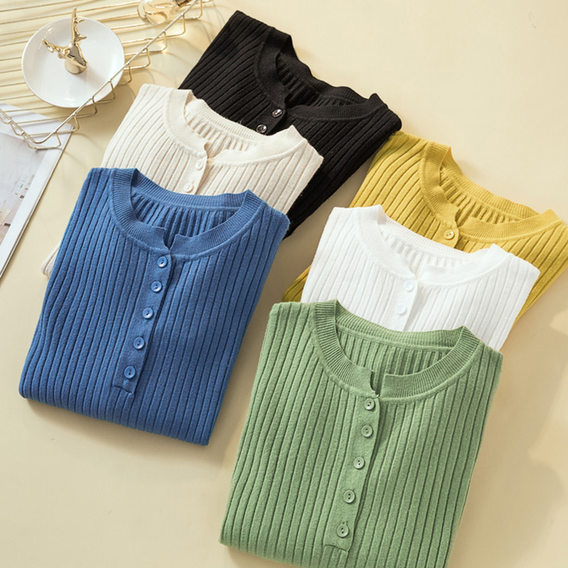 2019 Button Sweater Women Basic Slim Knitted Pullover Women Sweaters Pullovers Jumper Autumn Winter Korean Style Women Sweater