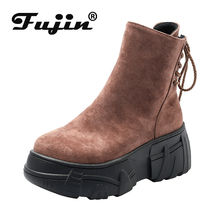 Fujin Autumn Women Short Ankle Boots Thick Bottom Flock Leather Platform Wedges Boots Fashion Ladies Height Increasing Shoes Red