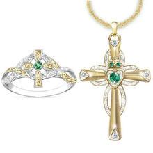Изысканная мода творческие крест кольцо с зеленым Цирконом колье
