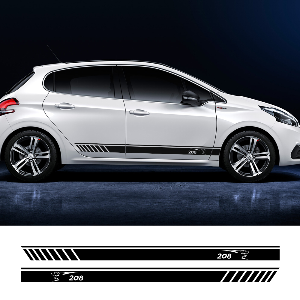For Peugeot 308 208 206 307cc 3008 2008 Car Styling Body Sticker Door Skirt Stripe Decal Sport Racing Auto Vinyl Car Accessories