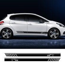 Pegatina de cuerpo de coche para Peugeot 308 208 206 307cc 3008 2008, calcomanía de puerta a rayas, accesorios de coche de carreras de vinilo deportivo