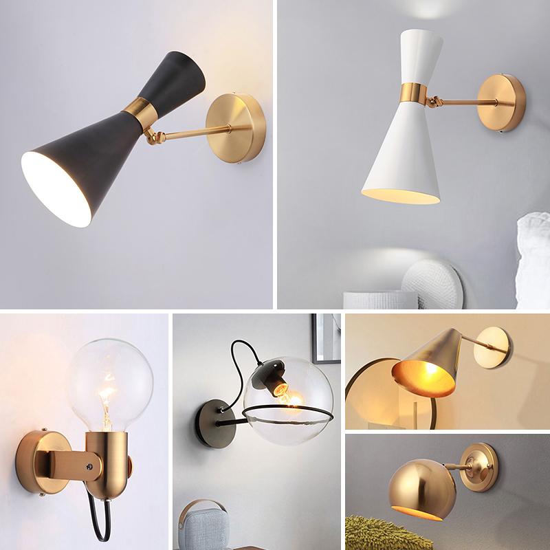 SANBUMG Nordic Wall Light Modern Wall Sconce Wall Lamp Adjustable Corridor Lamp Bedside Lamp Wall Iron Art Plating E27Light Head