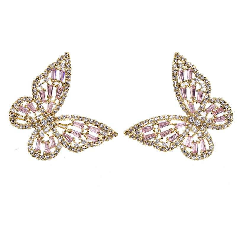 Nieuwe Luxe Mode Ronde Dangle Drop Koreaanse Oorbellen Voor Vrouwen Grote Vlinder Gouden Oorbel Voor Vrouwen 2020 Sieraden