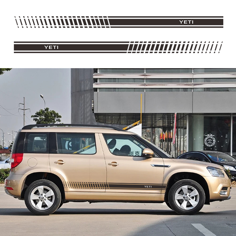 2pcs Car Stickers and Decals for Skoda YETI Car Tuning Accessories DIY Stripe Decoration