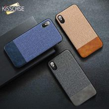 KISSCASE Original Fabric PU Leather Case For iPhone XS Max XR X 6S 6 7 8 Plus Retro Cloth 11 Pro