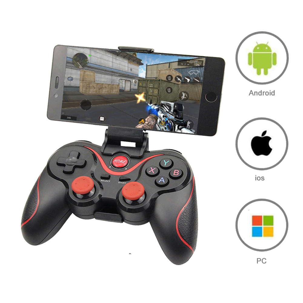 Wireless Bluetooth 3.0 Game Controller Terios T3/X3 For PS3/Android Smartphone Tablet PC With TV Box Holder T3+ Remote Gamepad joystick joysticks pc controllergamepad wireless pc - AliExpress