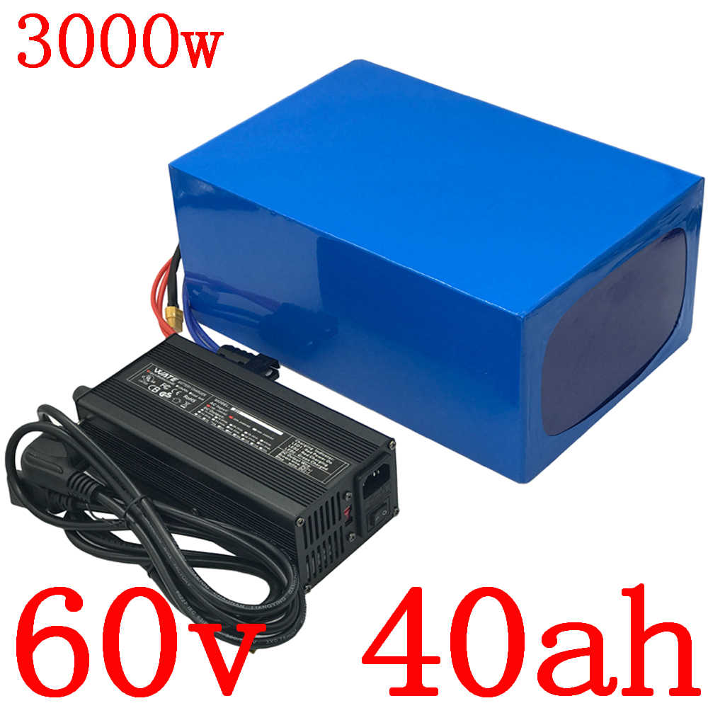 Free customs tax 60V Lithium battery 60V 40AH scooter battery 60V 40AH 3000W electric bicycle battery with 60A BMS + 5A charger
