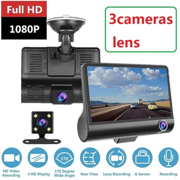 HD Night  Car Dvr Dash Cam 4.0 Inch Video Recorder Auto Camera 3 Camera Lens With Rear View Camera Registrator Dashcam DVRs 1