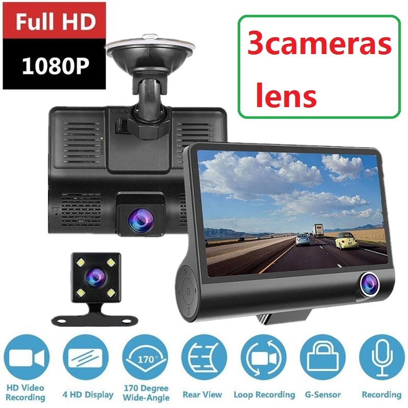 Автомобильный видеорегистратор с 3 объективами s 4,0 дюйма, видеорегистратор с двумя объективами заднего вида, видеорегистратор, авто full HD 1080 ...