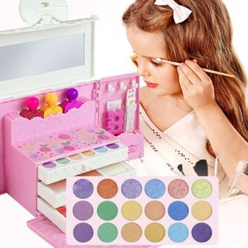Washable Pretend Play Kids Make Up Gifts Set Non Toxic Makeup Case Box Cosmetic Suit Travel Children Toys 72XC