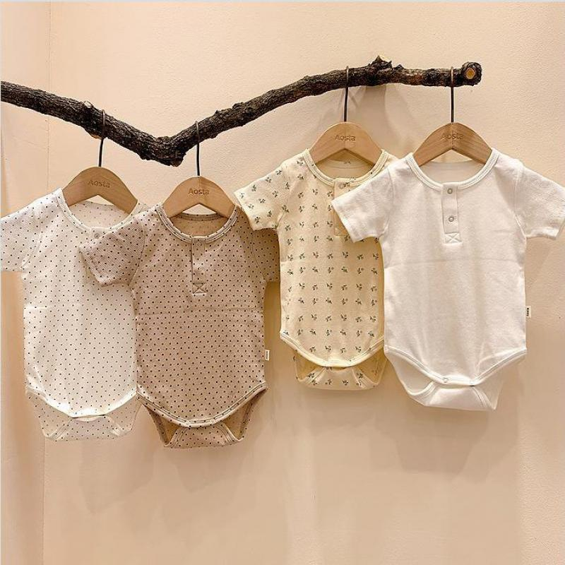 2020 Newborn Baby Boys Girls Bodysuit Short Sleeve Fashion Summer Baby Girls Clothes Cotton Infant Jumpsuit