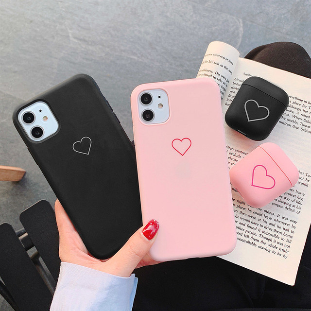 Cute 360 Soft Case For iPhone 11 Pro X Xr Xs Max For Apple Airpods 1 2 Love Heart Phone Cover For iPhone 8 Plus 7 6S 6 5 5S SE