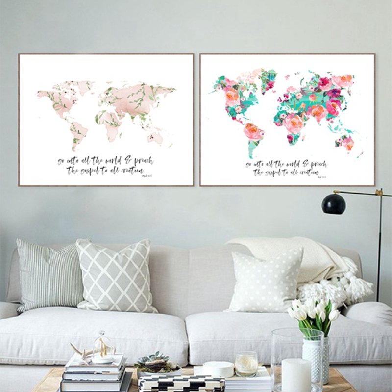 World Map Print Mark 16:15 Bible Verse Watercolor Floral Art Canvas Painting Scripture Christian Poster Home Wall Art Decor
