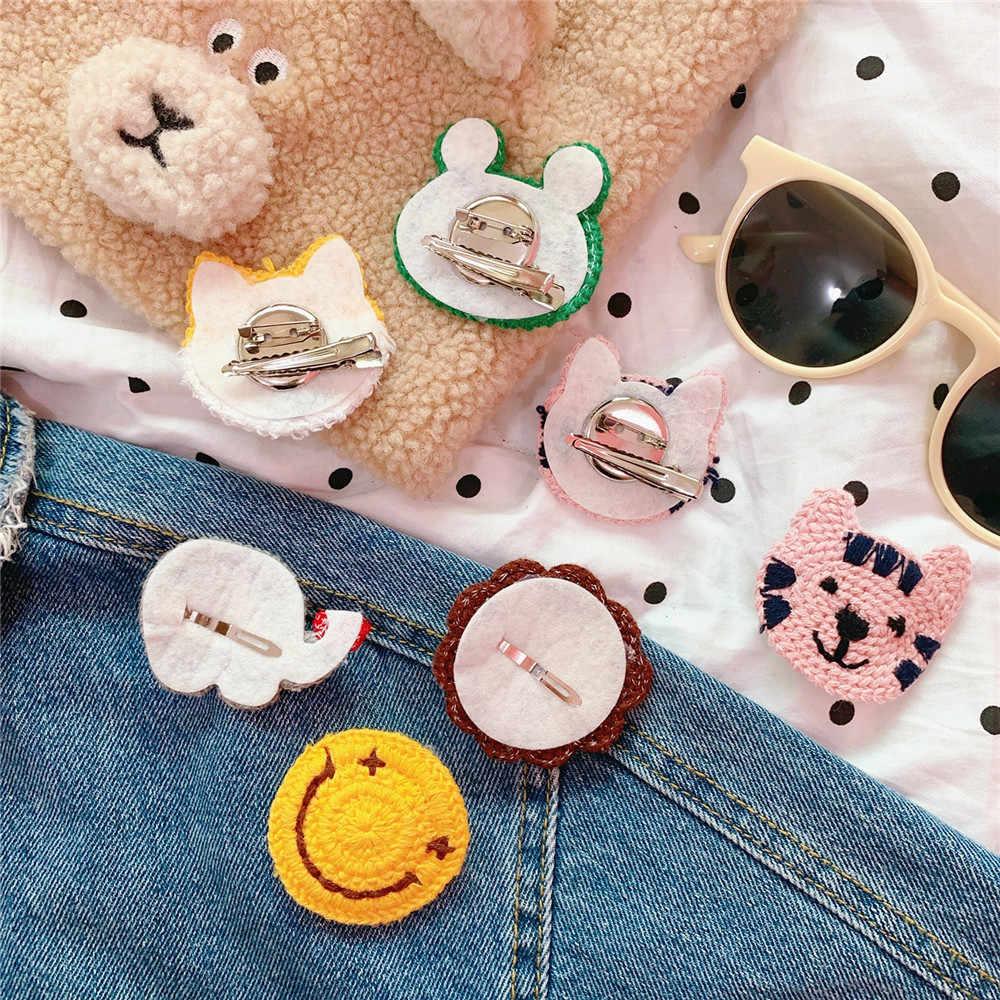 Cartoon wełny tkania kolorowe słoń żaba broszka odznaka słodki miś pies kot broszka biżuteria do włosów torba klips Ornament Pins dla dziewczyny