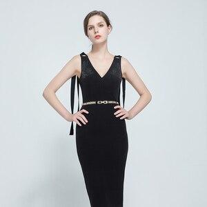 Image 3 - Blatt Schnalle Gürtel elegante dame mode zubehör für Frauen Kleid Elastische Metall BL347