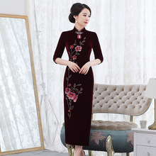 2019 Hot Sale New Improved Velvet Cheongsam Long Married Woman Wave Of Cultivate Morality Dress Qipao Festival Mother Installed