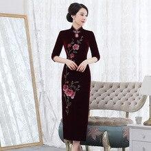 2019 gorąca sprzedaż nowa ulepszona aksamitna Cheongsam długa zamężna kobieta fala kultywowania moralności sukienka Qipao festiwal matka zainstalowana