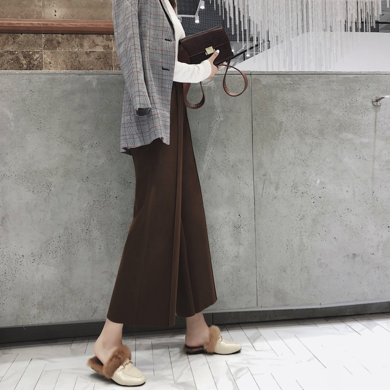 2019 Autumn And Winter New Style Woolen Loose   Pants   Women's Capri Woolen Cloth High-waisted   Wide     Leg     Pants   Elastic Waist Thick C