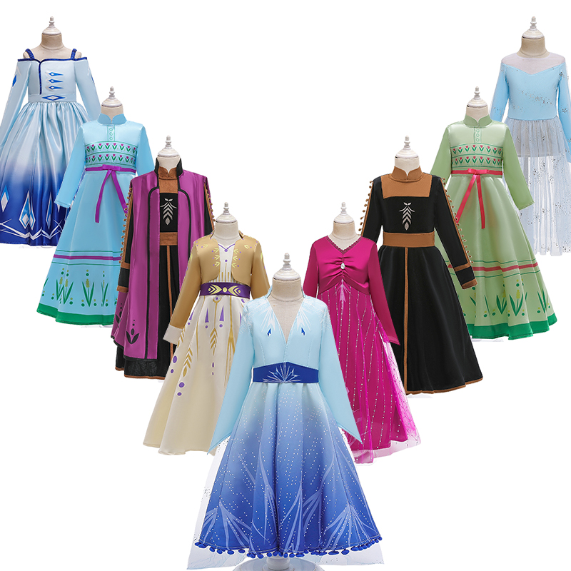 2019 Girl Elsa Dress 2 Set For Girl Snow Queen Princess Cosplay Kids Anna Christmas Costume Children Halloween Party Clothing