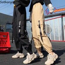 Pantalones Cargo hasta el tobillo de alta calidad para mujer, pantalón suave, Harajuku, estilo coreano, para mujer, bolsillos sólidos, informales, fáciles de combinar, novedad