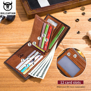 Image 3 - BULLCAPTAIN RFID shielding Mens leather wallet double fold slim wallet multi card card package ID bag