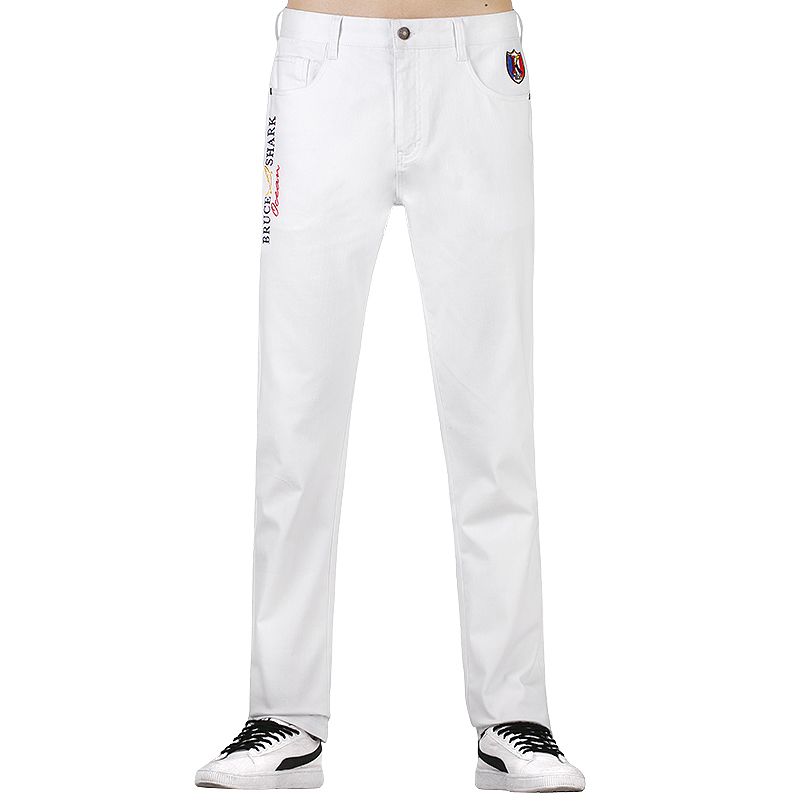 New Men Stretch Skinny Jeans Fashion Casual Slim Fit Denim Trousers  Embroidery White Pants Male Brand Clothes Thick