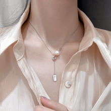 OBEAR  Silver Plated Fashion Creative Pin Pearl Pendant Necklace for Women Girl Elegant Charming Jewelry Accessories