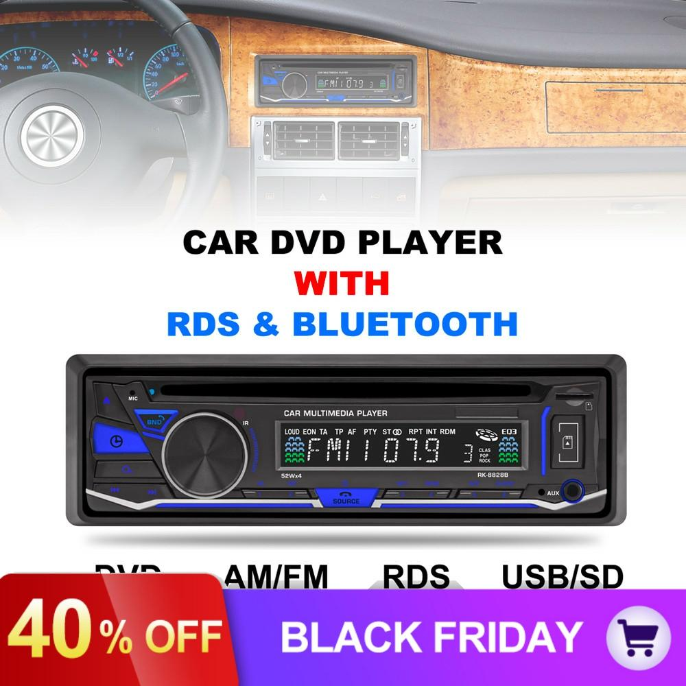 RK-8828B 12V 1 Din Bluetooth Car DVD player Support VCD SD USB AUX Built-in AM FM RDS Radio Stereo image